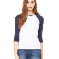 Women's Baby Rib Three Quarter Sleeve Contrast Raglan Tee