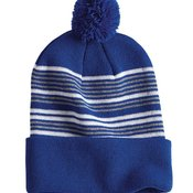 "12"" Striped Pom-Pom Knit Cap"