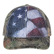 Camo Cap with Flag Sublimated Front Panels